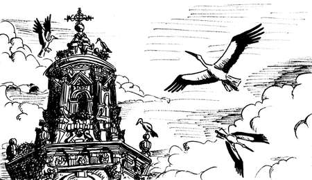 Storks flying and nesting on top of baroque belfry at Logroño. A charming town on the Way of St. James, in northern Spain. Ink drawing.