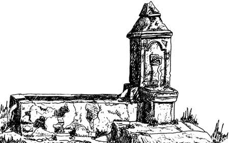 View of an old worn fountain in Baroque style on the Way of St. James. A pilgrimage route leading to Santiago de Compostela in Spain. Ink drawing.