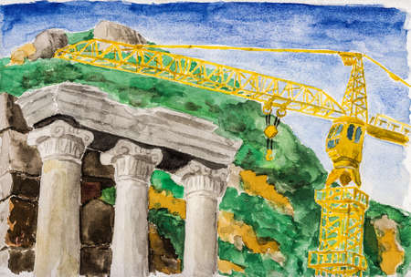 Columns with Ionic capitals aside modern crane at the archeological site of Ephesus. A historical tourist attraction in Turkey. Watercolor painting.