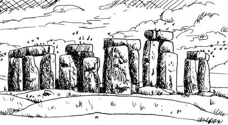 Monolithic stones arranged in a circle shape forming the Stonehenge monument, a man-made complex dating from the Neolithic Age, England. Ink drawing.