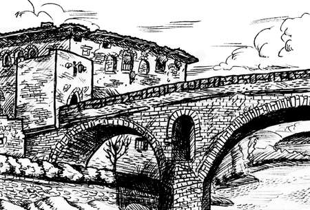Gothic stone bridge and old building in Puente La Reina. A medieval village on the Way of St. James, northern Spain. Ink drawing. Фото со стока