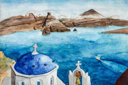 Typical blue dome and bell from orthodox church at the Santorini island. A volcanic island in the Aegean Sea, southern Greece. Watercolor painting.