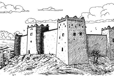 Kasbah Taourirt, former fortress palace mud-built in the Ouarzazate village. A Moroccan town in the desert mainly inhabited by Berbers. Ink drawing.