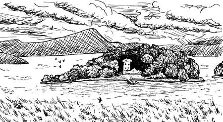 Tower and stone walls of tiny Lochleven Castle in an island at the Loch Leven. Near Edinburgh, in the countryside of Scotland. Ink drawing.