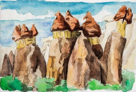 Curious geological landscape of rocky crags eroded by weather in Cappadocia. At the Turkish countryside. Watercolor painting. Фото со стока
