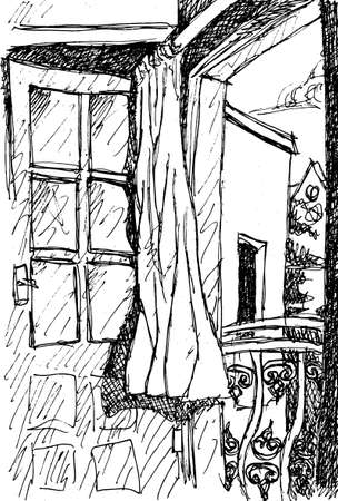 View of open balcony door and flowing curtain in a house in Bodrum, a touristy beach town in western Turkey. Ink drawing. Archivio Fotografico