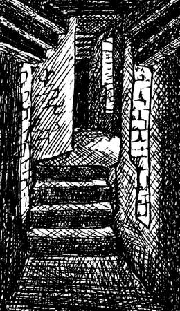 View of a narrow corridor made of stone within the wide walls of Beaumaris Castle. In the countryside of Wales, United Kingdom. Ink drawing.