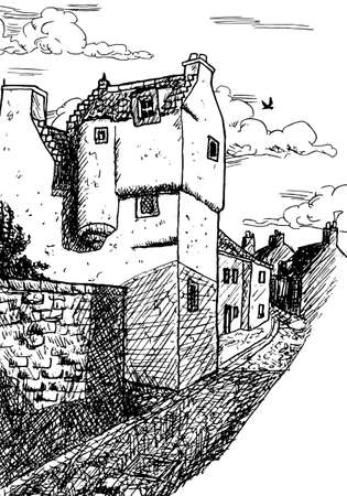 A small two-story house in medieval burg-style in an alley at Culross. A tiny and well-preserved seaside fishing village in Scotland. Ink drawing. Фото со стока