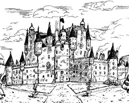 Front facade of Glamis Castle with pointed turrets, is the epitome of baronial grandeur in central Scotland. Ink drawing. Editoriali