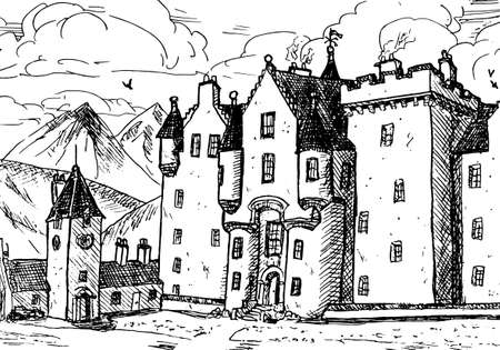 Front facade of Blair Atholl Castle with pointed turrets. In the middle of Scottish highlands, north of United Kingdom. Ink drawing. Editoriali