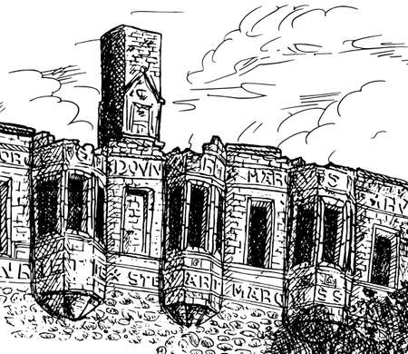 Stone walls and windows on sunset at the Huntly Castle. A small and friendly town in the countryside of Scotland. Ink drawing.