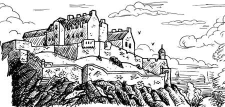 Towers and stone walls on top of a cliff at the Edinburgh Castle. The capital of Scotland, in the north of United Kingdom. Ink drawing.