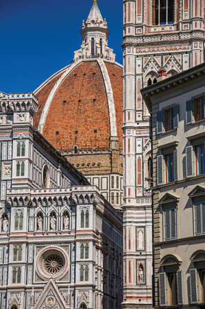 Dome of the Santa Maria del Fiore Cathedral and Giotto's Campanile - bell tower - in Florence. The amazing capital of the Italian Renaissance.