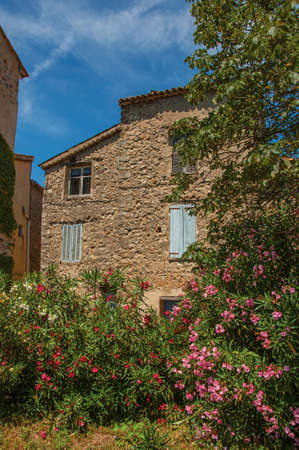 Alley view with house and flowers in Chateaudouble, a quiet village with medieval origin on a sunny day. Provence region, southeastern France.