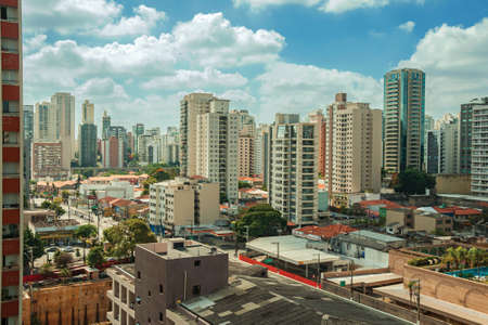 View of the city skyline with streets and buildings in São Paulo. The gigantic city, famous for its cultural and business vocation in Brazil. Фото со стока
