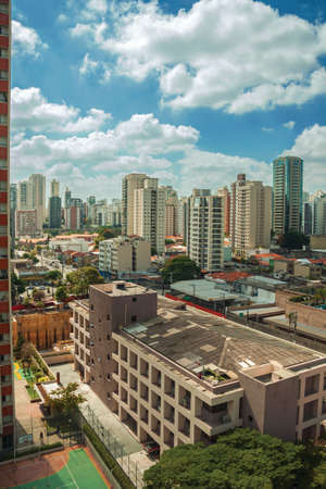 View of the city skyline with streets and buildings in São Paulo. The gigantic city, famous for its cultural and business vocation in Brazil.