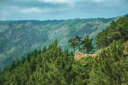 Green wooded valley with a small house next to the road at the highlands of Serra da Estrela. The highest mountain range in continental Portugal. 免版税图像