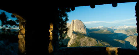 half dome: View from the Glacier Point, in Yosemite National Park, USA Stock Photo