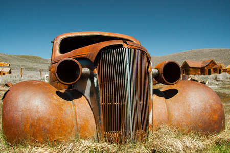 rusty car: Bodie State Historic Park is a genuine California gold-mining ghost town. Stock Photo