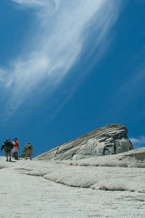 Views and things found on your way up to the top of Half Dome at Yosemite National Park in California Stock Photo