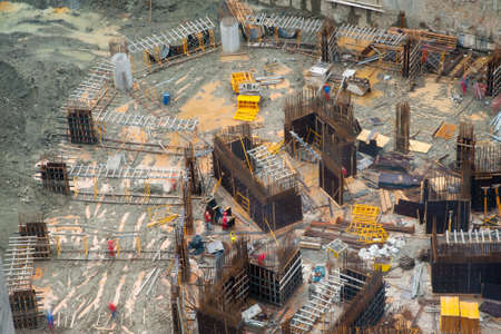 site: Aerial detailed view of a civil construction site