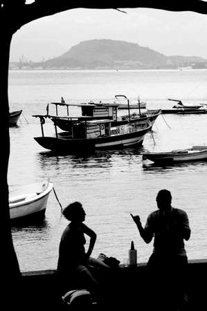 Silhouettes against late afternoon background in Rio de Janeiro