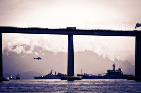 Detail of the Rio-Niteroi bridge from a boat on the Guanabara bay in Rio de Janeiro