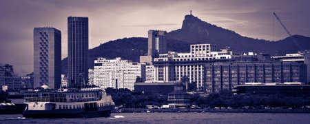 rio de janeiro: Landscape of Rio de Janeiro as seen from a boat on Baia de Guanabara