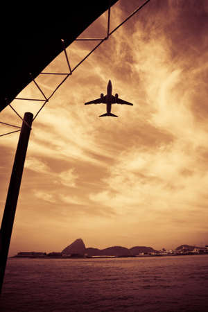 View of an airplane flying over the city of Rio de Janeiro