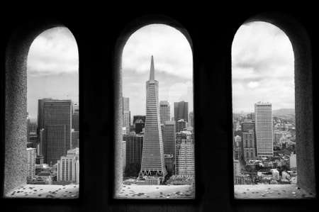 transamerica: View from the Coit Tower at Telegraph Hill, in San Francisco, CA, USA
