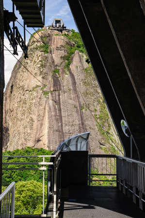 Sugarloaf Mountain , is a peak situated in Rio de Janeiro, Brazil, at the mouth of Guanabara Bay on a peninsula that sticks out into the Atlantic Ocean.