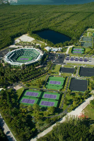 country club: Aerial photograph of Crandon Park Tennis Center in Key Biscayne, Miami, Florida, USA.