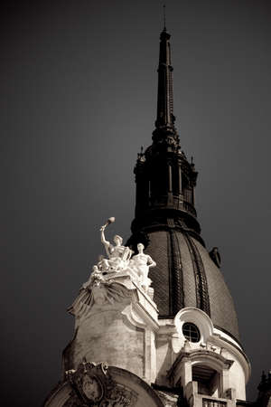 aires: Statues on the top of a building, Microcentro, Buenos Aires, Argentina