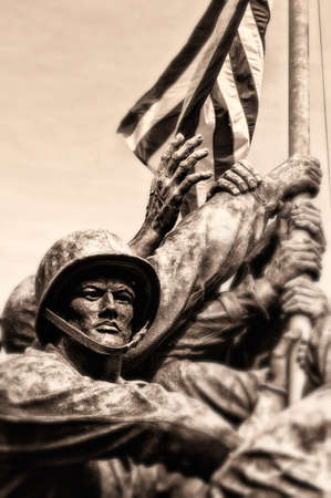 Sepia view of Marine Corps or Iwo Jima war memorial, Arlington National Cemetery, Virginia, U.S.A