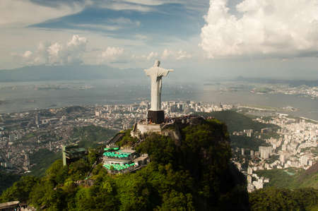 the redeemer: Aerial view of Christ the Redeemer statue and city of Rio de Janeiro, Brazil.