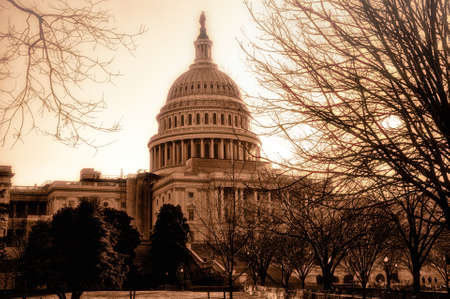 The United States Capitol in sepia tone. Stock Photo
