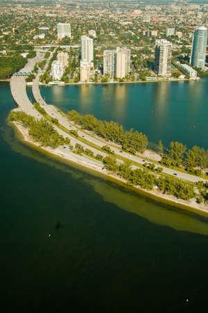 atlantic city: Rickenbacker Causeway in the Atlantic Ocean leading to a city, Miami, Miami-Dade County, Florida, USA