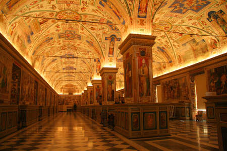 Ceiling details of the Gallery of Maps, Vatican Museums, Vatican City, Rome, Rome Province, Lazio, Italy
