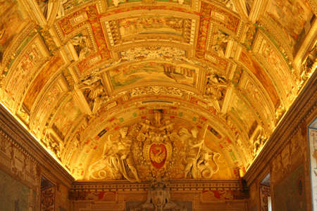 pontiff: Ceiling details of the Gallery of Maps, Vatican Museums, Vatican City, Rome, Rome Province, Lazio, Italy