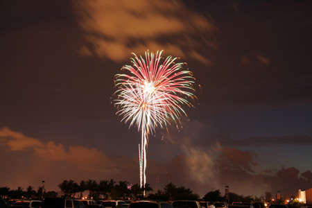 incendiary: Scenic view of fireworks exploding in night sky during 4th of July celebrations.