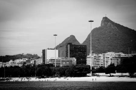 Cristo Redentor as seen from a boat in the Baia de Guanabara in Rio de Janeiro, Brazil photo