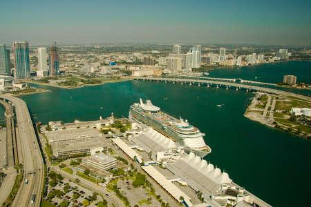Aerial view of a cruise ship in the Atlantic Ocean, Miami, Miami-Dade County, Florida, USA