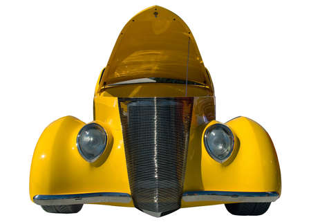 popped: A yellow classic car with the hood popped on a white background.