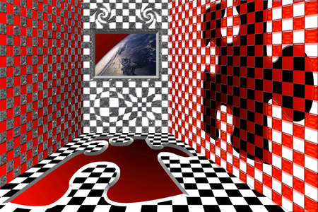 window view: A virtual room with a window with a view on the earth from the space. Stock Photo