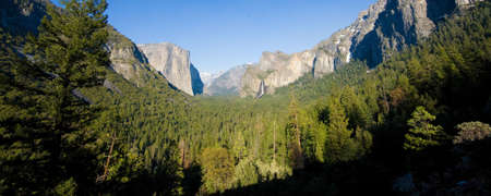 Rock formations in a valley, Bridal Veil Falls Yosemite, El Capitan, Half Dome, Yosemite Valley, Yosemite National Park, California, USA