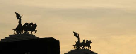 Low angle view of statues at a monument, Vittorio Emanuele Monument, Piazza Venezia, Rome, Rome Province, Lazio, Italy Stock Photo