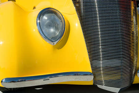 collectible: Old and stylish yellow collectible ancient car Stock Photo