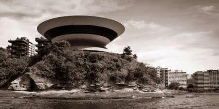 rio de janeiro: Niteroi Contemporary Art Museum at Boa Viagem Beach in Niteroi, Rio de janeiro, Brazil.
