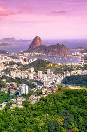 Aerial view of buildings on the beach front with Sugarloaf Mountain in the background, Botafogo, Guanabara Bay, Rio De Janeiro, Brazil