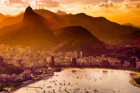 Aerial view of buildings on the beach front, Botafogo, Guanabara Bay, Rio De Janeiro, Brazil